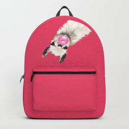 Bubble Gum Sneaky Llama in Red Backpack