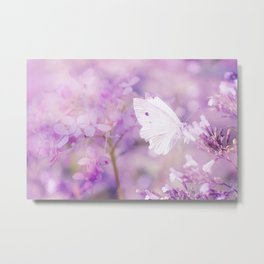 Butterfly :: White Violet Metal Print