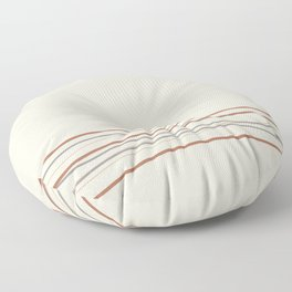 Off White Solid Color with Minimal Scribble Stripes Bottom Brown, Gray, And Beige Floor Pillow