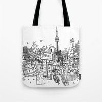 toronto Tote Bags featuring Toronto! by David Bushell