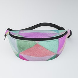Watercolors triangles and squares, multicolored ornament, purple blue lilac green b Fanny Pack