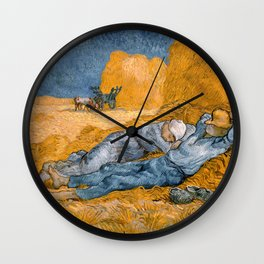 Noon - rest from work by Vincent van Gogh Wall Clock