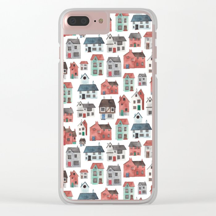 Watercolour Houses Clear iPhone Case