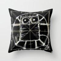 da vinci Throw Pillows featuring Kot da Vinci (black) by Katja Main