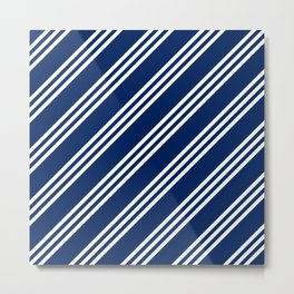 Navy and White Large Small Small Stripes Metal Print