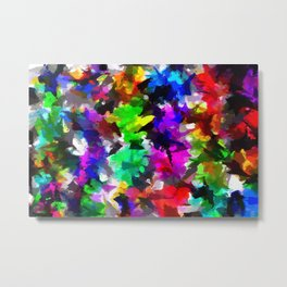psychedelic splash painting abstract texture in pink blue green yellow red black Metal Print