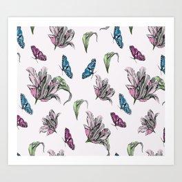 Tulips and Butterflies Art Print