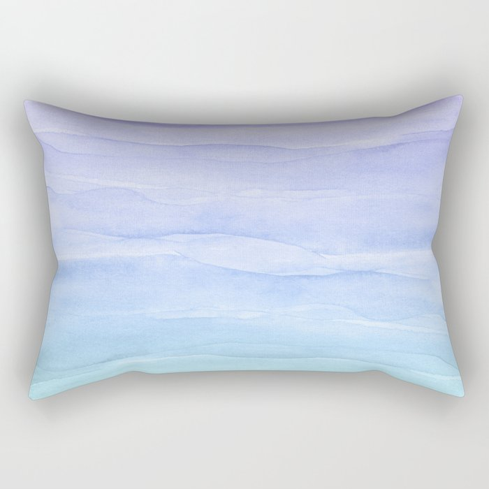 Layers Blue Ombre - Watercolor Abstract Rectangular Pillow