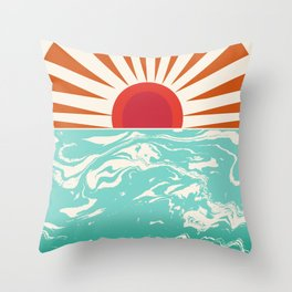 Keepin' It Real - retro 70s vibes throwback ocean sunset sunrise socal surfing beach life 1970's Throw Pillow