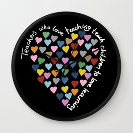 Hearts Heart Teacher Black Wall Clock