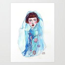 Fashion - Blue Veil Art Print