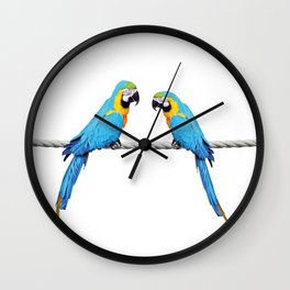 Macaw Bird sitting on rope white Wall Clock
