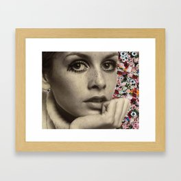 twiggy flower collage Framed Art Print