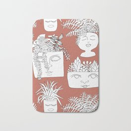 Illustrated Plant Faces in Terracotta Bath Mat