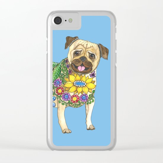 The Pugster (Blue) Clear iPhone Case