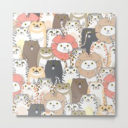 Cute Tigers And Cats Pattern Metal Print