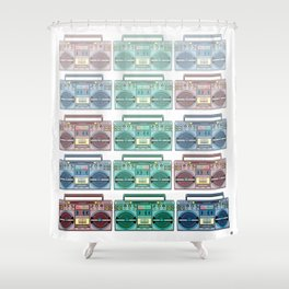 """I CAN'T LIVE WITHOUT MY RADIO"" Shower Curtain"
