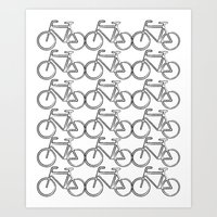 Bicycle Stamp Pattern - Black and White - Fixie Fixed Gear Bike Version 2 Art Print