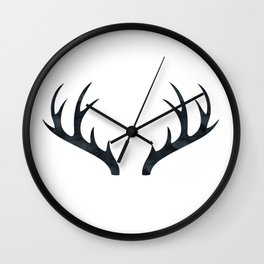 Antlers Black and White Wall Clock
