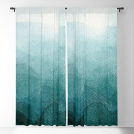 Sunrise in the mountains, dawn, teal, abstract watercolor Blackout Curtain
