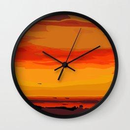 Orange Ocean Sunset Wall Clock