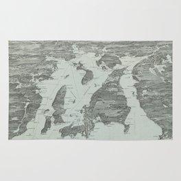 Vintage Pictorial Map of Narragansett Bay (1907) Rug