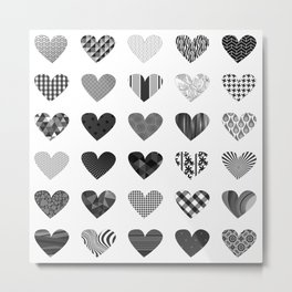 Full of heart - Black and White Metal Print