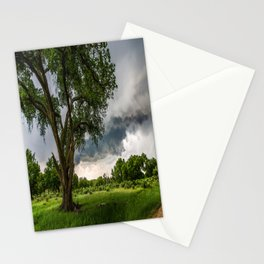Big Tree - Tall Cottonwood and Passing Storm in Texas Stationery Cards