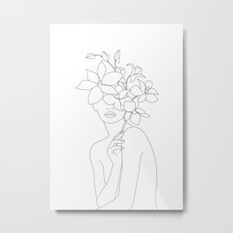 Minimal Line Art Woman with Orchids Metal Print