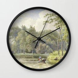 Landschap met figuren in een roeibootje by Georgius Jacobus Johannes van Os Wall Clock