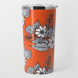 Orangey Gray Floral Travel Mug