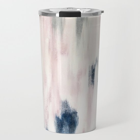 Blush Pink and Blue Pretty Abstract by brushedinbold