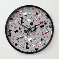 depression Wall Clocks featuring depression by Reinekke