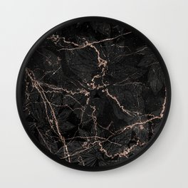Black rose gold glitter floral abstract marble Wall Clock