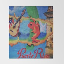 Puerto Rico Oil painting Prints  Throw Blanket