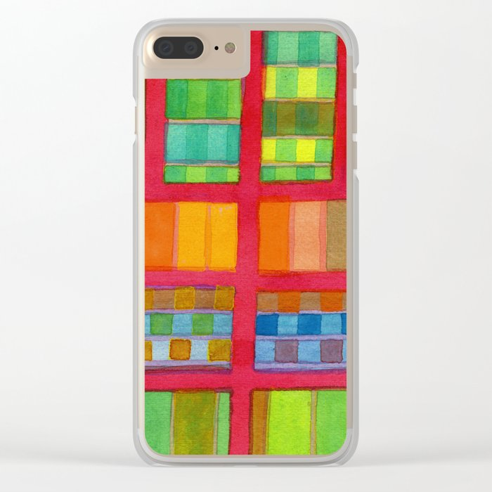 Red Grid with Checks Pattern and vertical Stripes Clear iPhone Case
