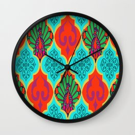 Moroccan Decorations and Peacocks Red,Blue by Lorloves Design Wall Clock