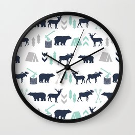 Camper pattern minimal nursery basic grey navy mint white camping cabin chalet decor Wall Clock