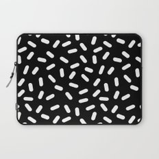 Bingo - black and white sprinkle retro modern pattern print monochromatic trendy hipster 80s style Laptop Sleeve