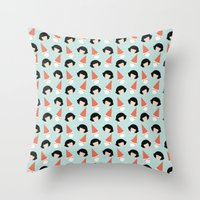 amelie Throw Pillows featuring Amelie by Juice for Breakfast