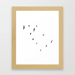 A Murder of Crows In Flight Silhouette Framed Art Print