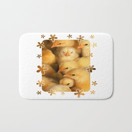 Clutch of Yellow Fluffy Chicks With Decorative Border Bath Mat