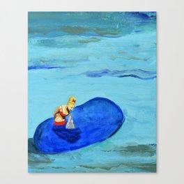 Girl Feeding Dolphin Canvas Print