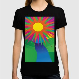 Psychedelic Sun Neon Mountain River Lands T-shirt