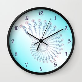 Tribal Mermaid Spiral Shell Turquoise Wall Clock