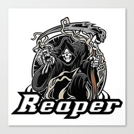 Illustration of grim reaper on white background Canvas Print