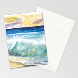 Breaking Eastern Caribbean Waves with Sunset on Antilles Island Stationery Cards