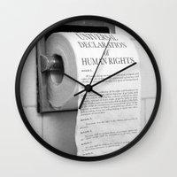 toilet Wall Clocks featuring Toilet Paper by Natalia Delgado