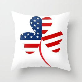 USA American Flag Of Shamrock St. Patrick's Day Irish Throw Pillow