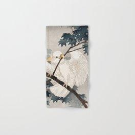 Cockatoo on a tree - Japanese vintage woodblock print Hand & Bath Towel